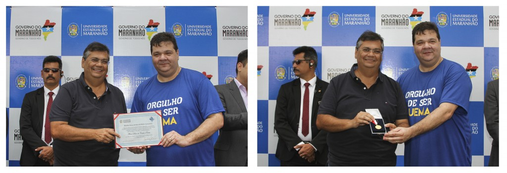 Medalha e diploma Gomes de Souza sendo entregue ao Governador da Estado