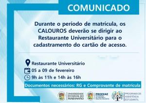 Cadastramento do cartão de acesso ao Restaurante Universitário (RU). Foto: Divulgação.