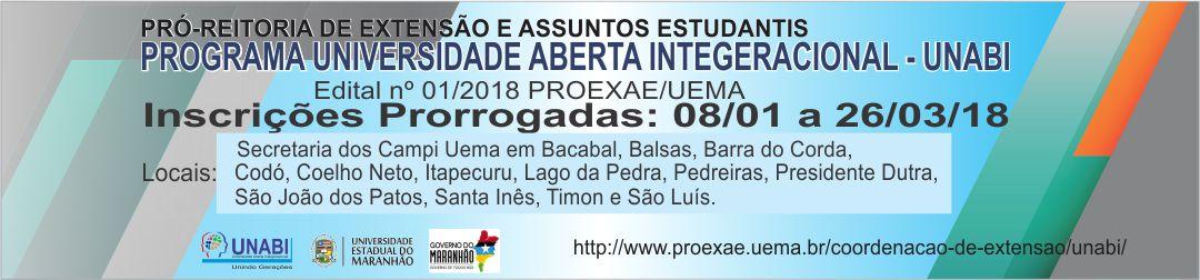 Chamada-LANÇAMENTO-DO-EDITAL-nº-001-2018-PROEXAE-UEMA-UNABI