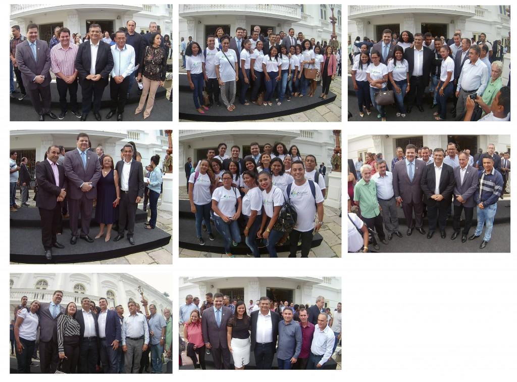 alunos, gestores da UEMA, governador Flávio Dino e prefeitos