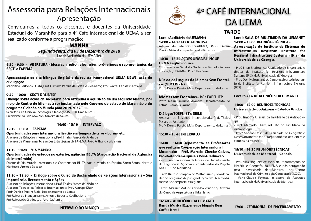 Programação 4º Café Internacional Anverso