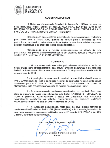 comunicado - paes 2019