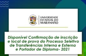 Confirmação de inscrição com local de prova – Seletivo Transferências